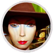 Coy Cowgirl Round Beach Towel