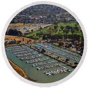 Coyote Point Marina San Francisco Bay Sfo California Round Beach Towel