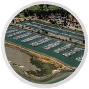 Coyote Point Yacht Club In San Mateo, California Round Beach Towel