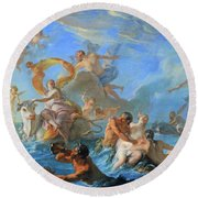 Coypel's The Abduction Of Europa Round Beach Towel