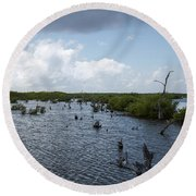 Ominous Clouds Over A Cozumel Mexico Swamp  Round Beach Towel