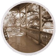 Cozy Southern Porch Round Beach Towel
