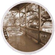 Cozy Southern Porch Round Beach Towel by Carol Groenen