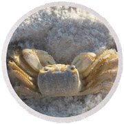 Crab On The Beach Round Beach Towel
