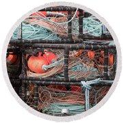 Crab Pots Round Beach Towel