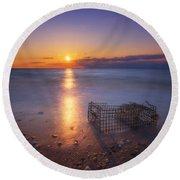 Crab Trap Sunset Le Round Beach Towel