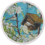 Crabapple Chickadees Round Beach Towel