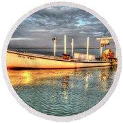Crabbing Boat Beth Amy - Smith Island, Maryland Round Beach Towel