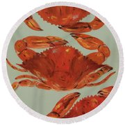 Crabs Tonight Round Beach Towel