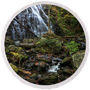 Crabtree Falls In Autumn Round Beach Towel