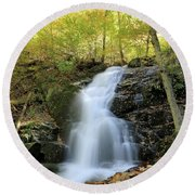 Crabtree Falls In The Fall Round Beach Towel