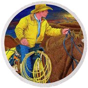 Cracker Cowboy Sunrise Round Beach Towel