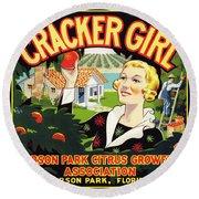 Cracker Girl Citrus Crate Label C. 1920 Round Beach Towel