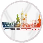 Cracow City Skyline Color Round Beach Towel