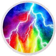 Rainbow Color Lightning Round Beach Towel