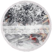 Cranberries In Winter Round Beach Towel