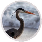 Crane By The Sea Round Beach Towel