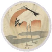 Crane For The First Sunrise Of The Year, Totoya Hokkei, C. 1821 Round Beach Towel