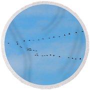Crane Formation Round Beach Towel