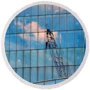 Crane Reflection - Atlantic City Round Beach Towel