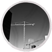 Cranes And Buildings Bw Round Beach Towel