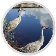 Cranes At The Lake Round Beach Towel