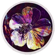 Cranesbill Flower Close Bee Insect  Round Beach Towel
