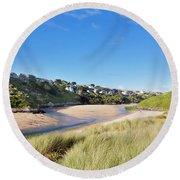 Crantock And The Gannel Round Beach Towel