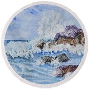 Crashing Wave IIi Round Beach Towel