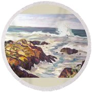 Crashing Wave On Maine Coast Round Beach Towel