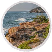 Crashing Waves At Otter Cliff Round Beach Towel