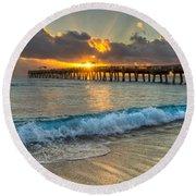 Crashing Waves At Sunrise Round Beach Towel