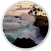 Crashing Waves At Sunset Round Beach Towel