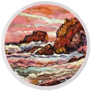 Crashing Waves At Sunset  Majestic Seascape Round Beach Towel