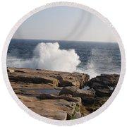 Crashing Waves On Maine Coast Rocks  Round Beach Towel