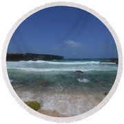 Crashing Waves Rolling Ashore On The Island Of Aruba Round Beach Towel