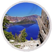 Crater Lake And Wizard Island Round Beach Towel