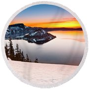 Crater Lake Dawn Round Beach Towel