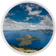 Crater Lake From Watchman Overlook Round Beach Towel