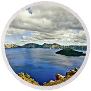 Crater Lake I Round Beach Towel