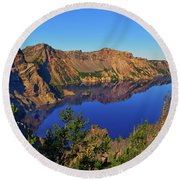 Crater Lake Morning Reflections Round Beach Towel