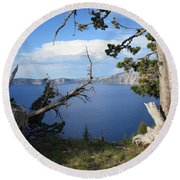 Crater Lake Perspective Round Beach Towel