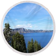 Crater Lake View  Round Beach Towel