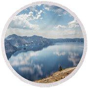 Crater Lake With A View Of The Phantom Ship Round Beach Towel