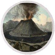 Crater Of Mount Vesuvius, Before 1767 Round Beach Towel