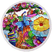 Craving Mardi Gras Beads - Tiptoe Pleading Technique - Vignette Round Beach Towel