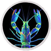 Crawfish In The Dark - Blublue Round Beach Towel