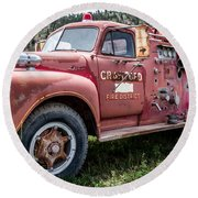 Crawford Fire Truck  Round Beach Towel