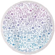Crazy And Cute Monster Patter In Blue Pink Round Beach Towel