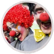 Crazy Circus Clowns Round Beach Towel